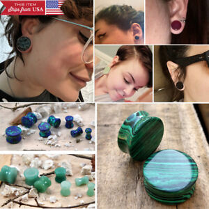 "Pair Stone Ear Plugs Double Flared Saddle Fit Organic Gemstone Earring 4G-1 3/8"""