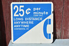 """Vintage .25 Per Minute Long Distance Pay Phone Metal 18"""" Double-Sided Sign USED"""