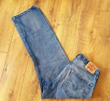 Levis 501 Blue Faded Jeans W34 L30 Button Fly Leather Patch Distressed