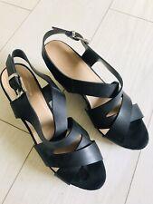 Black Strappy Wedge Shoe Size 41