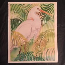tropical EGRET poster print-CARA R0Y pohl ART-signed NUMBERED-florida--14.5x18