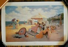 Signed first edition Print A DAY AT THE BEACH 1900 Christa Kieffer Victorian Art