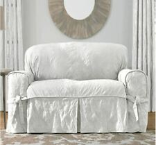 Sure Fit Matelasse Damask 1-Piece Loveseat Slipcover White