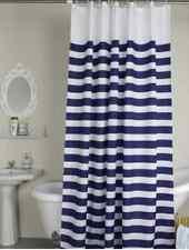 Navy Nautical Maritime Stripe Modern Style Ring Hook Waterproof Shower Curtains