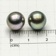 Round Green Real South Sea Tahitian Cultured Loose Pearl Undrilled Pair 10.4mm