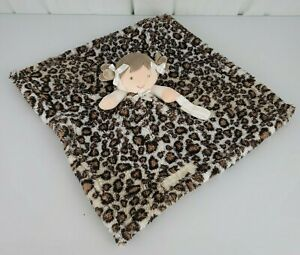 Blankets and Beyond Leopard Blanket Brown Hair Girl with Pacifier Holder