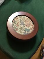 """VINTAGE WOODEN ROUND JEWELRY BOX WITH LID 7 1/4"""""""