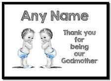 Baby twin garçons marraine merci personnalisé napperon