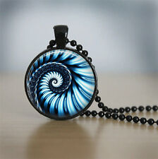 Blue and white swirl Cabochon Black Vintage Glass Chain Pendant Necklace