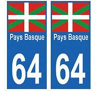 stickers autocollants plaques immatriculation auto Département 64 Pays Basque