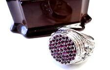 Men's 14K White Gold  Fleur De Li King Castle Ring With Black Diamonds & Rubies