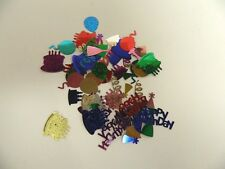 HAPPY BIRTHDAY CONFETTI SEQUINS - LOT OF 3 PACKAGES - 20 GRAMS EACH