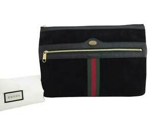 Auth Gucci Sherry Clutch Second Bag Black/Goldtone Suede/Patent Leather - e42696