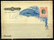 BRAZIL 100 REIS MINT POSTAL STATIONERY LETTER CARD RHM# CB-56e AS SHOWN