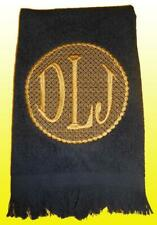 New Black GoldTerry Cotton Embroidered Round Motif Monogrammed Hand Towel
