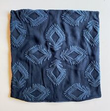 """Serena and Lily Leighton Pillow Cover, 24"""" Square, Embroidered Navy Linen"""