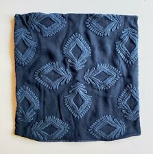 "Serena and Lily Leighton Pillow Cover, 24"" Square, Embroidered Navy Linen"
