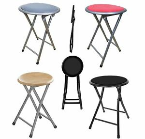 ROUND 45 CM PORTABLE FOLDING PADDED STOOL WITH SILVER LEGS BREAKFAST KITCHEN