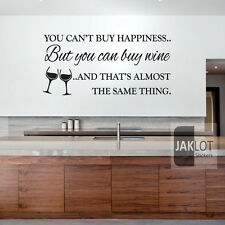 CAN'T BUY HAPPINESS BUT YOU CAN BUY WINE - Vinyl Wall Art Sticker,  Decal