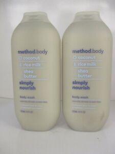2 Method Coconut Rice Milk Shea Butter Simply Nourish Body Wash 18oz Ea Jl 13147