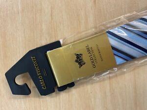 Mens Silk Tie Blue Carlo Visconti Gold Label
