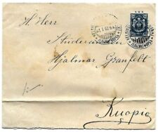 Finland: 1902; Postal Stationery type cover, to Kuopio, blue, fold, EB0212