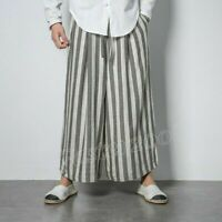 Vintage Men/'s Loose Striped Tube Wide Leg Eight Pants Causal Trousers Summer
