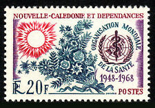 New Caledonia 367, MNH. World Health Organization, 20th anniv. Sun, Flowers,1968