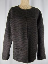 CHICO'S Size 1 Brown Boiled Wool Reversible Jacket Coat Animal Print Medium 8