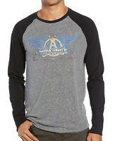 John Varvatos Star USA Men's Long Sleeve Aerosmith Graphic Crew Tee Shirt Grey