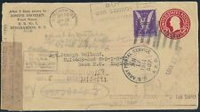 "3¢ ""WIN THE WAR"" ON COVER TO ENGLAND 1943-1944 OPENED BY MISTAKE BS124"