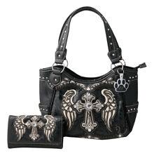 Western Rhinestone Cross Angel Wings Concealed Carry Handbag Wallet Purse Set