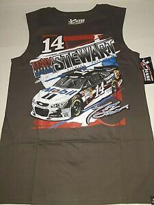 Tony Stewart # 14 Nascar Gray Sleeveless Wedge Muscle Shirt, Large