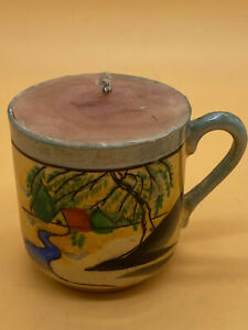Vintage Hand Painted Japanese Small Handled Cup Candle