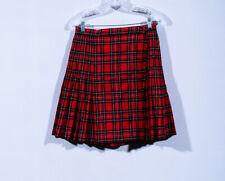 Amanda Smith Wool Red Tartan Plaid Short Pleated Skater Wrap Kilt Skirt Sz 10