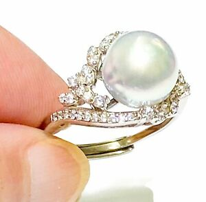 Stunning 9.5mm Natural White Round Australia South Sea Cultured Pearl Ring Sz 7