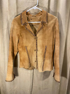 Womens Scully Western Jacket Size S Brown Leather 3 Button Saddle Stitching