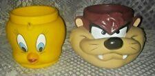 Warner Bros. 1992 Looney Tunes 3D  Kids Mugs Tweety Bird & Tasmanian Devil (Taz)