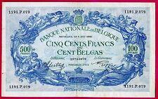Belgique ( P#109 ) billet de banque 500 frs ou 100 Belgas ~ tb ~ 1942 .