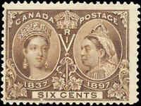 Mint Canada 6c 1897 F+ Scott #55 Diamond Jubilee Issue Stamp Hinged