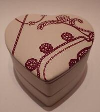 Pandora Leather Heart-Shaped Jewelry Box Case Two-Tiered Travel Natural and Red