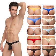 Men's Ice Silk Pouch Briefs G-String T-back Thongs Underwear Comfy Trunks Shorts