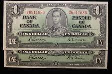 1937 Canada. ($1) One Dollar. 2 x CONSECUTIVE. Series U/A. Gordon-Towers.