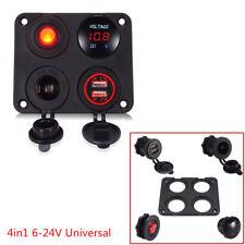 12V Dual USB 4.2A Car Charger Panel Red LED Voltmeter + Cigarette Lighter Socket