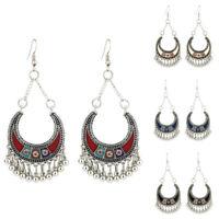 CN_ Bohemian Women's Crescent Moon Tassel Hook Earrings Wedding Jewelry Dreame