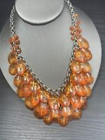 Vtg Bib Statement Necklace Imitation Lucite  Amber Beaded Cluster Charm 16""