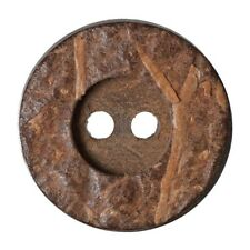 Pack of 2 Hemline Plain Wood Effect 2 Hole Sew Through Dish Buttons 28mm