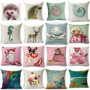 18'' Cute Cartoon Animals Cotton Linen Pillowcase Sofa Cover Home Decor Cushion