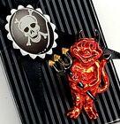 Vintage Iridescent Red Devil Enamel Pin Back 50s Skull Gift Box Halloween Cmas