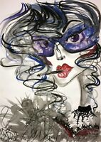Malerei A3 PAINTING contemporary art fashion illustration gothic vampire frau